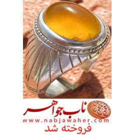 انگشتر عقیق زرد یمنی و رکاب قدیمی سید کد 5234