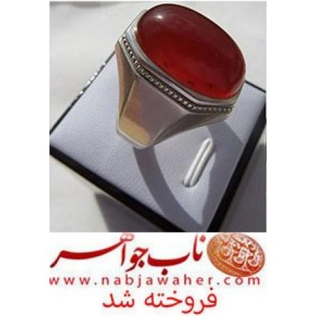 عقیق سرخ کم نظیر شن دار یمنی و رکاب جم رضایی کد 5311