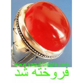 انگشتر درشت سرخ پاک عقیق یمنی