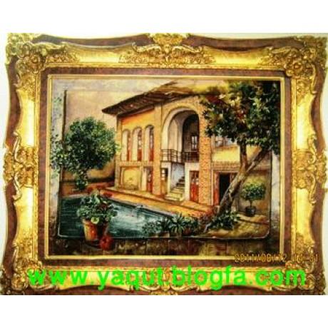 تابلو فرش عمارت ایرانی یا خانه مادر بزرگ دستبافت تبریز